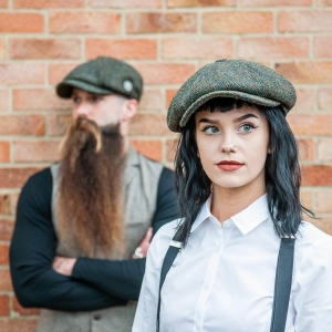 Captain Fawcett Harris Tweed Baker Boy Cap kaszkiet