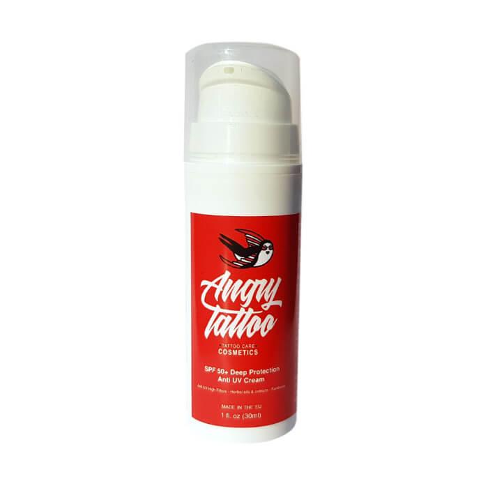 Angry Tattoo Spf 50 Deep Protection Anti Uv Cream Ochronny Krem Do Tatuażu Z Filtrem Przeciwsłonecznym 30 Ml